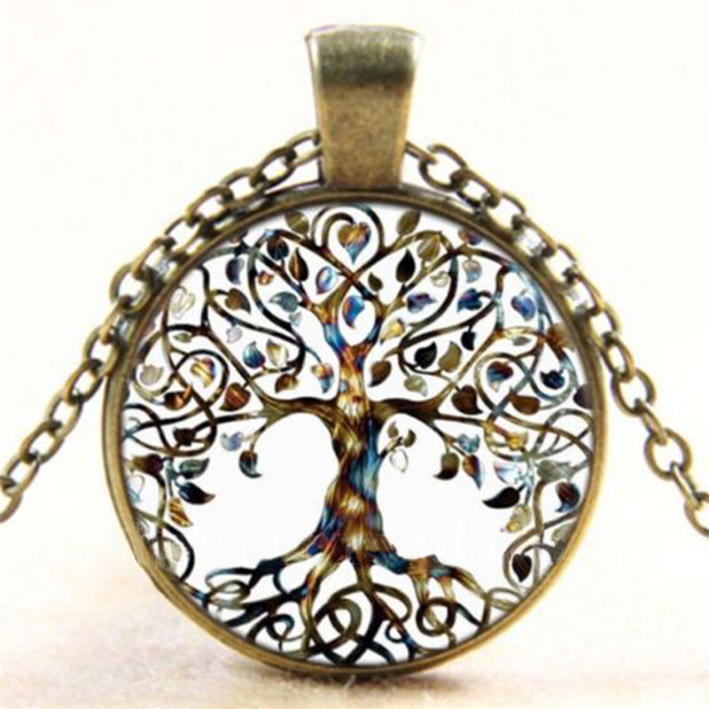 Vintage living tree of life glass cabochon bronze chain for What is the meaning of the tree of life jewelry