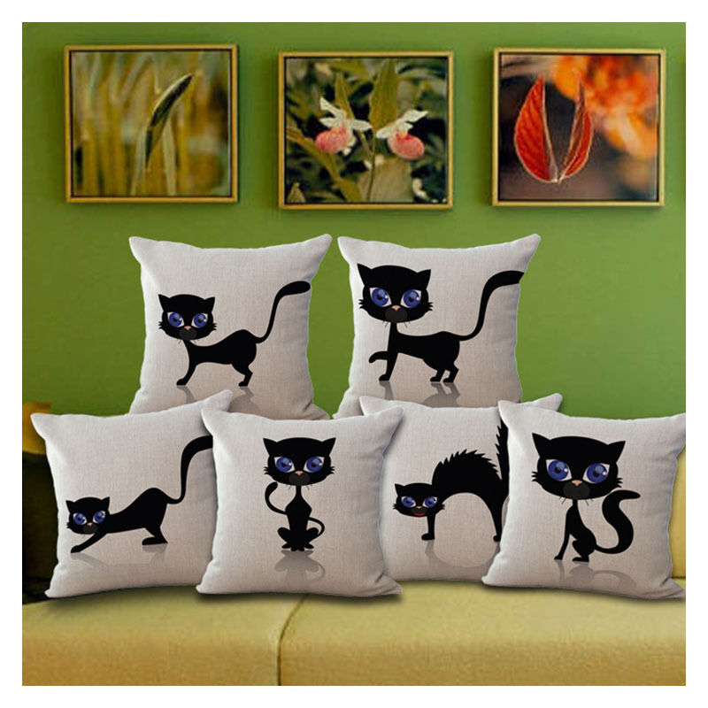 Diy Cartoon Black Cat Pattern Cotton Linen Pillow Case
