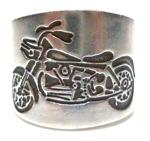 Mens womens wide harley davidson motorcycle biker sterling for Harley davidson jewelry ebay