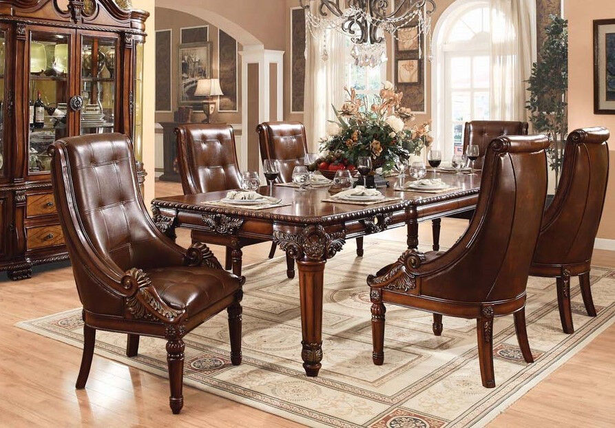 winfred antique cherry finish dining table set traditional furniture
