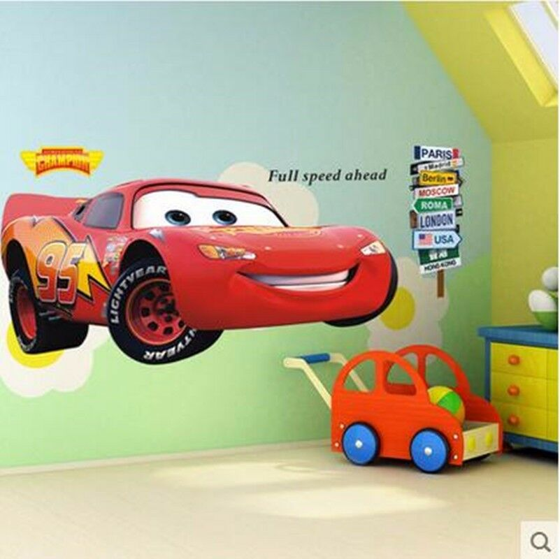 Lightning mcqueen cars wall sticker removable decal kids for Cars wall mural sticker