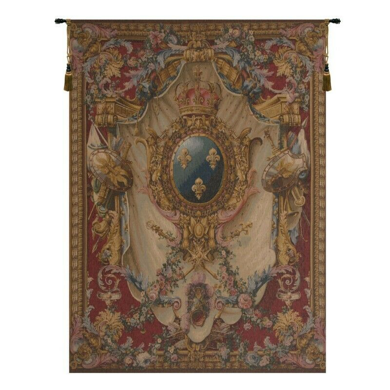 Grandes Armoiries Red French Tapestry Wall Hanging Ebay