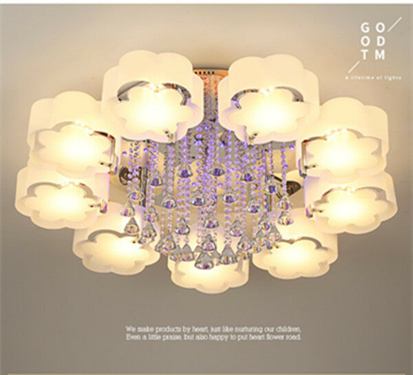 Modern led crystal shade ceiling light living room bedroom for Ebay living room lights
