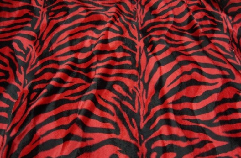 Fur Faux Zebra Red And Black Upholstery Velboa Fabric 58