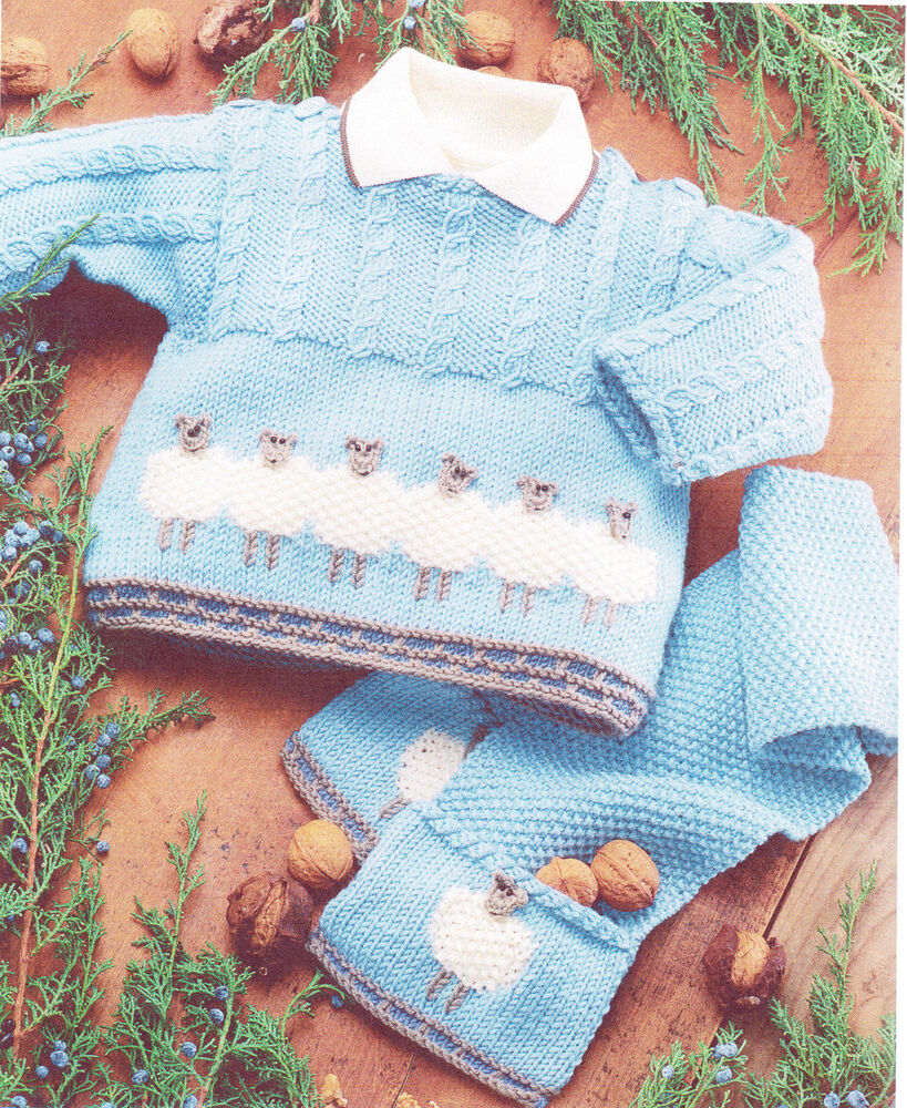 Knitting Pattern-Baby Sheep Motif Sweater & Scarf 0~ 2 ...