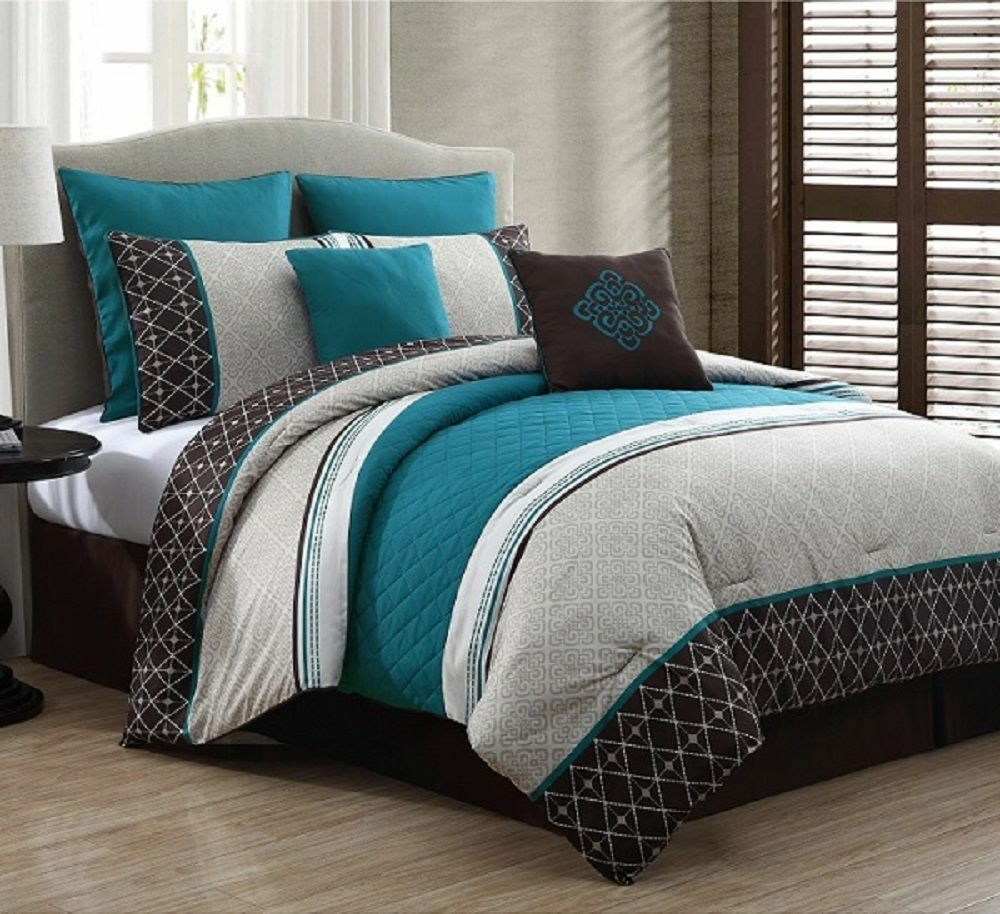New Beautiful Luxurious Queen Size Bed 8 Piece Comforter Set Bedroom Bedding