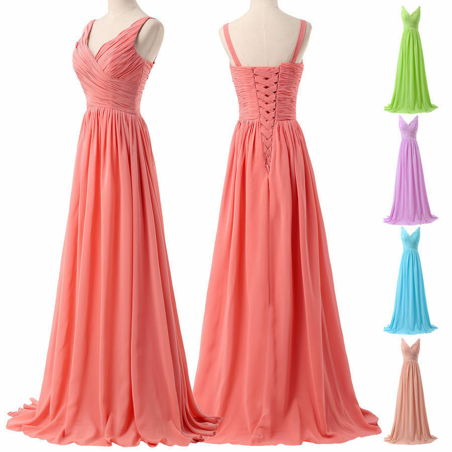 Long chiffon v neck wedding bridesmaid dresses formal for Ebay wedding bridesmaid dresses