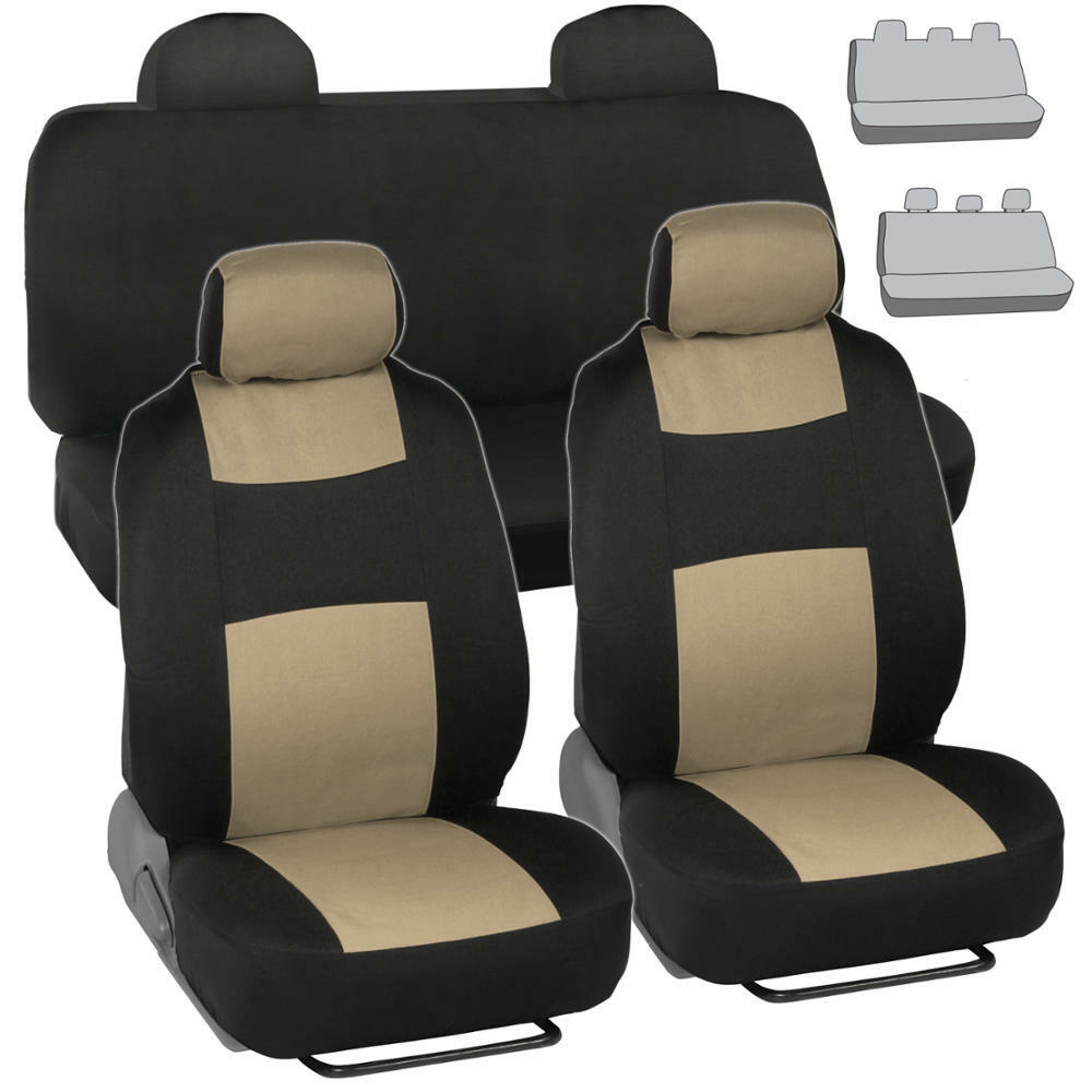 Black Beige Seat Covers For Car Auto SUV Polyester Cloth