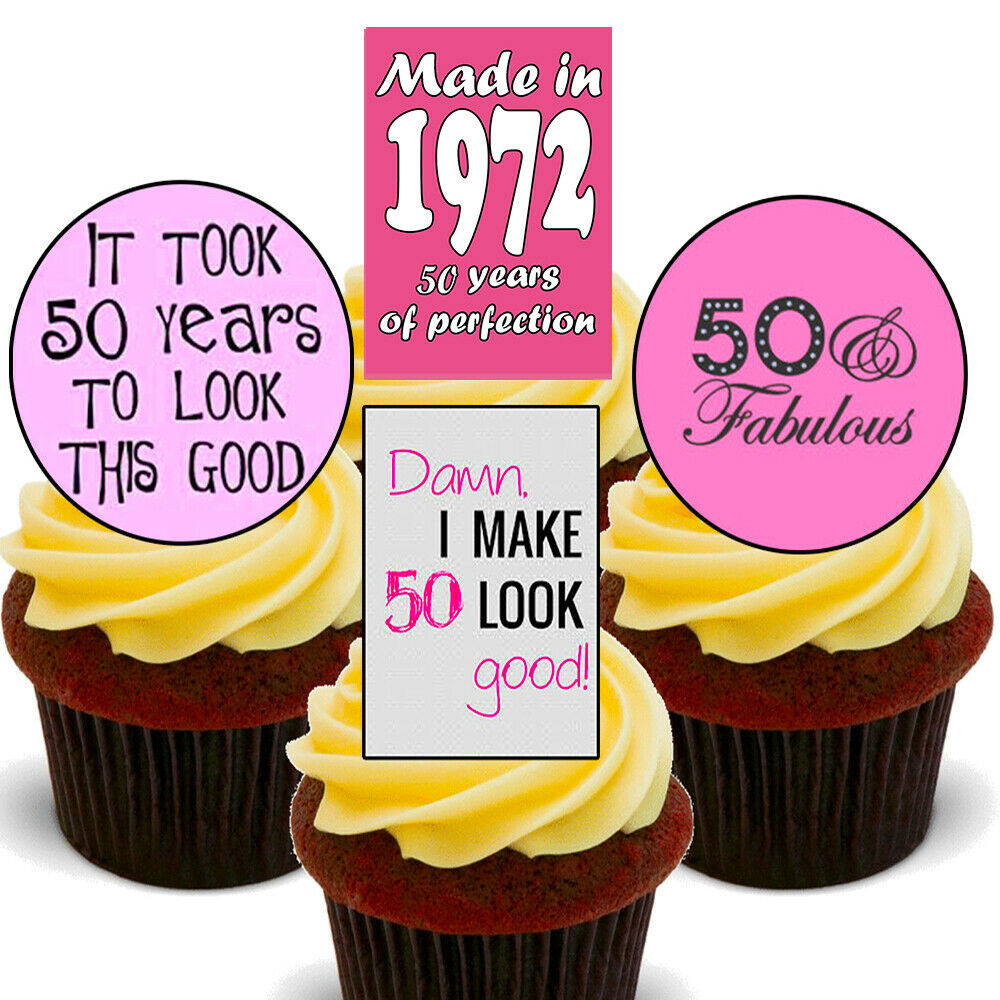 Details About 50th Birthday Female Edible Cupcake Toppers