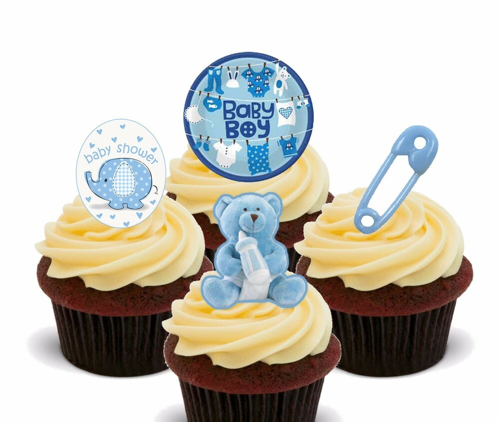 Baby Shower Boy, Blue Edible Cupcake Toppers, Standup ...