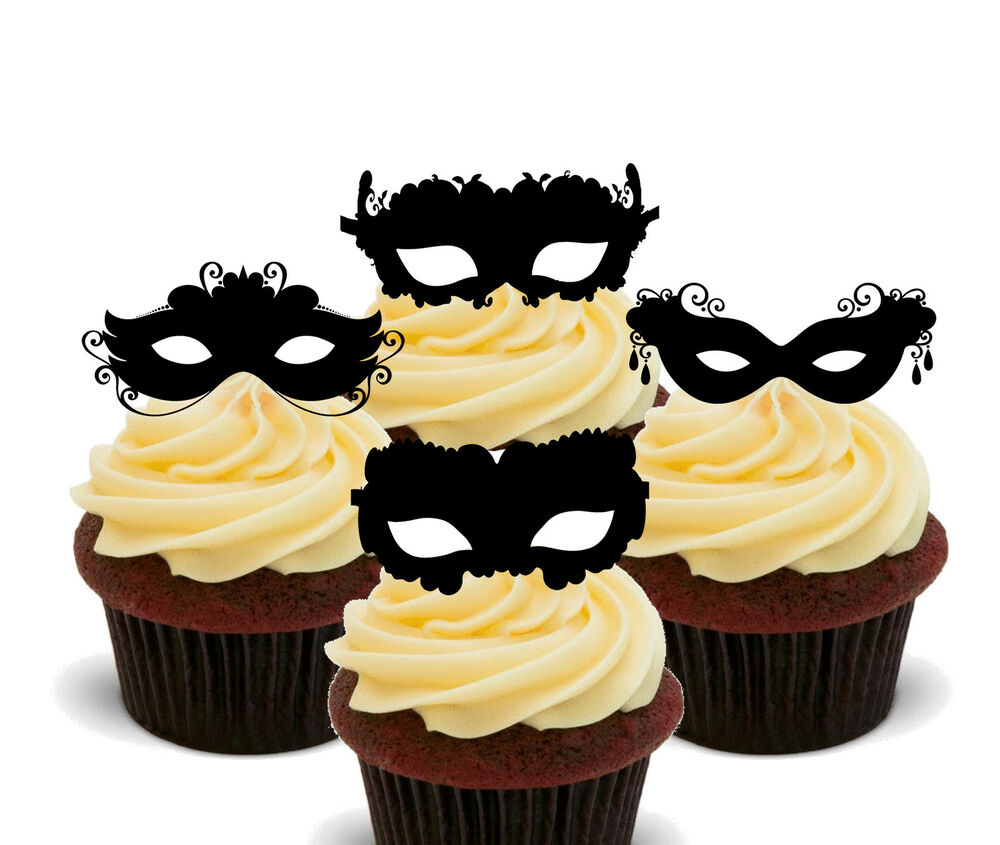 Masquerade Ball Masks Edible Cup Cake Toppers, Stand-up Decorations ...
