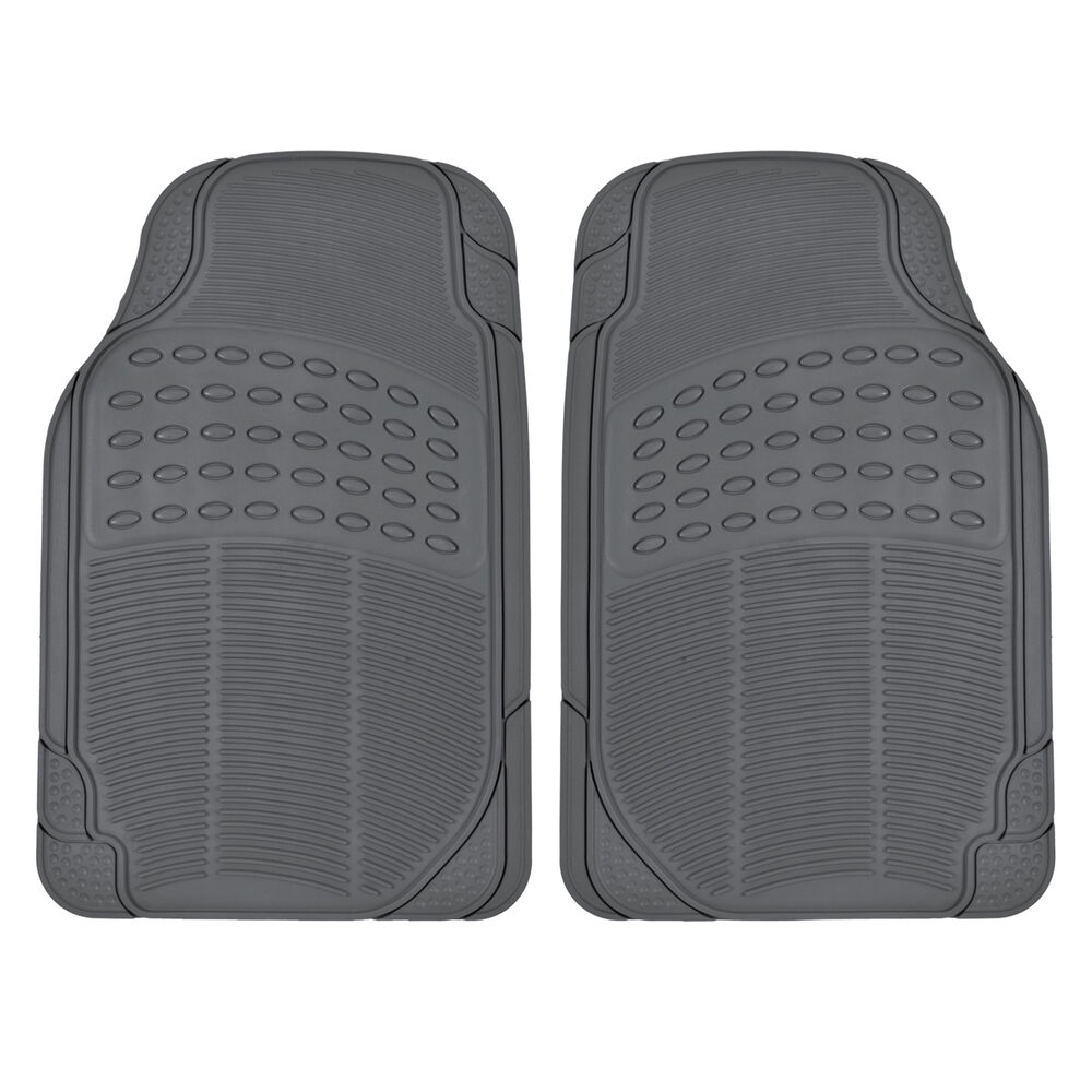 Gray Rubber Car Floor Mats Front 2 Piece Set All Weather