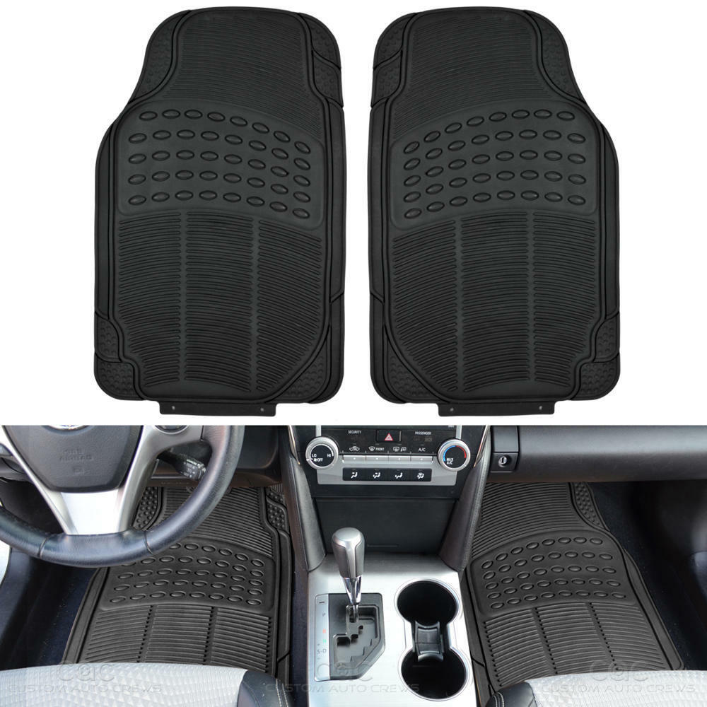 Rubber Floor Mats For Car Heavy Duty 2pc Set All Weather
