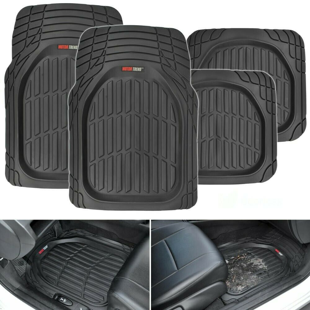 Deep Dish Heavy Duty Rubber Car Floor Mats 4pc Front Rear