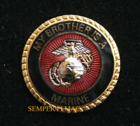 MY BROTHER IS A US MARINE HAT PIN BOOT CAMP MCRD GRADUATION DAD MOM SISTER WOW