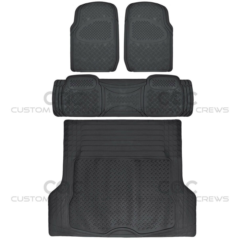 All Weather Car Rubber Floor Mats Max Duty Auto Protection