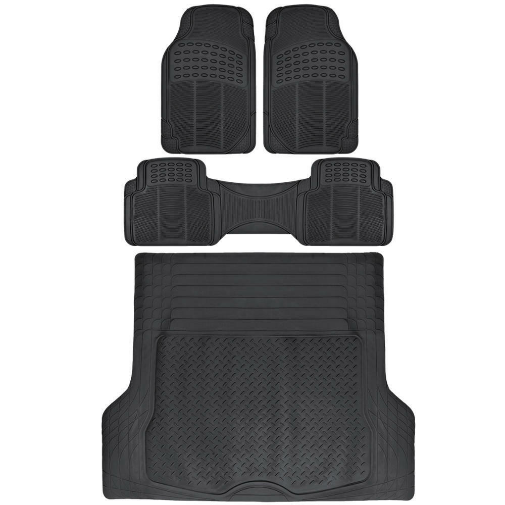 Black Rubber Floor Mats Cargo Liner Set For Car Suv Truck