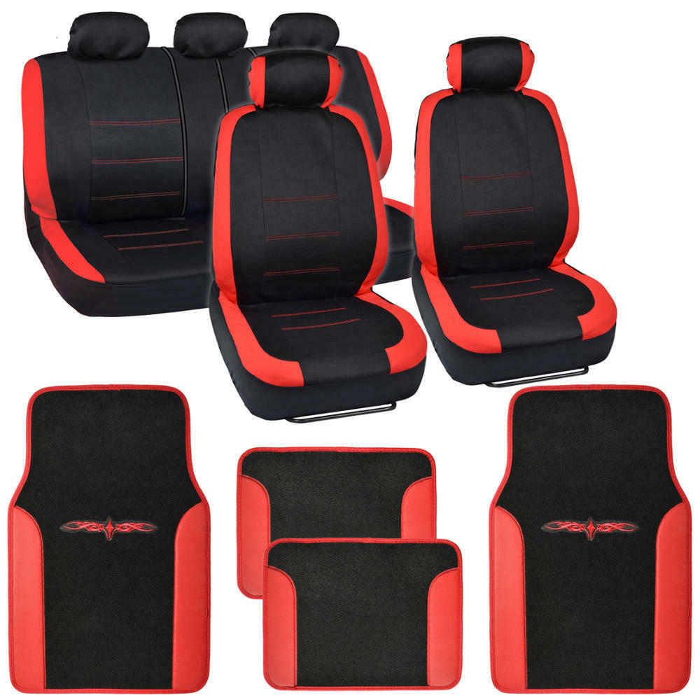 13pc Seat Covers & Floor Mats For Car Black/Red W/ Vinyl