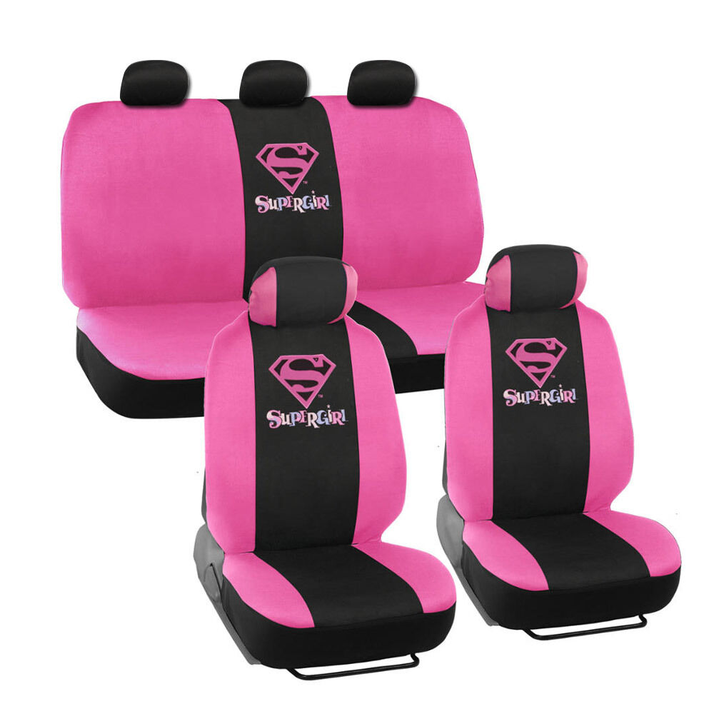 supergirl seat covers for car suv full set front rear auto accessories ebay. Black Bedroom Furniture Sets. Home Design Ideas