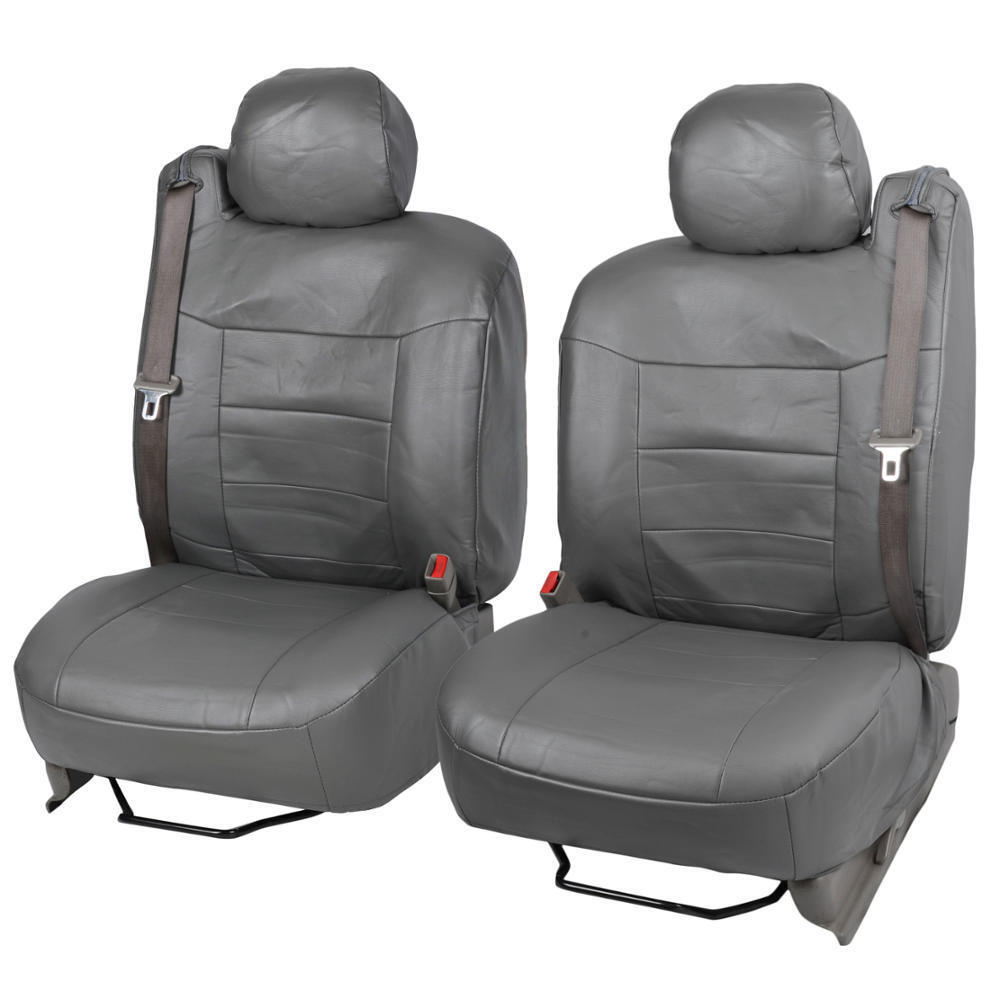 charcoal gray pu leather seat covers luxury for built in seatbelt suv trucks ebay. Black Bedroom Furniture Sets. Home Design Ideas