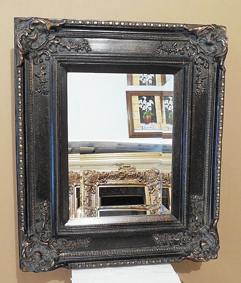 Large solid wood 22x26 rectangle beveled framed wall for Large wall mirror wood frame