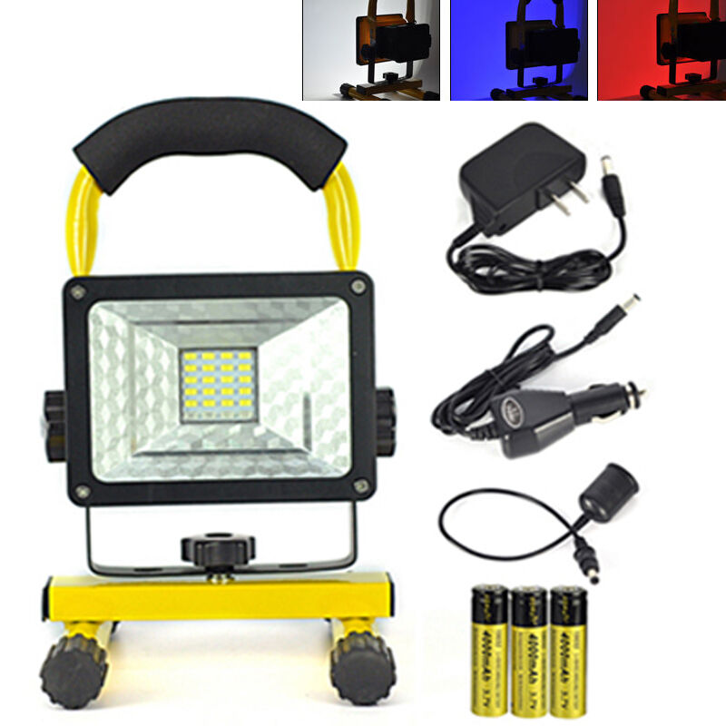 Portable 30W 24 LED Rechargeable Flood Spot Light Outdoor