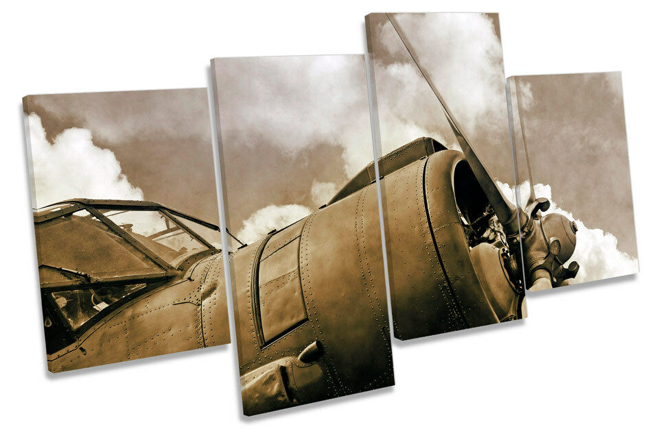 Vintage Airplane Propeller Multi Canvas Wall Art Boxed
