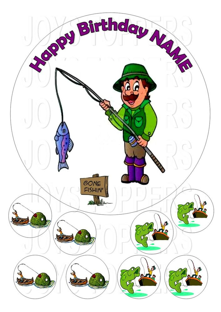 GONE FISHING CAKE TOPPER ROUND EDIBLE ICED ICING FROSTING ...