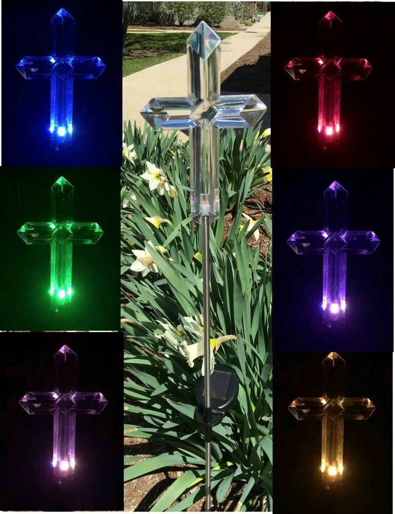 solar memorial cemetery cross garden stake lawn lamp color change yard led light ebay. Black Bedroom Furniture Sets. Home Design Ideas