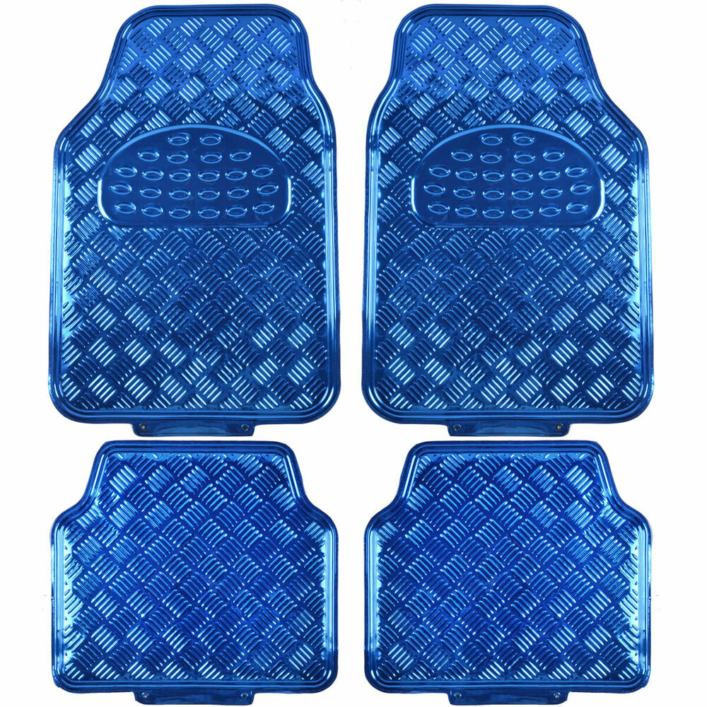 Heavy Duty Metallic Sheen Rubber Floor Mats Blue Auto