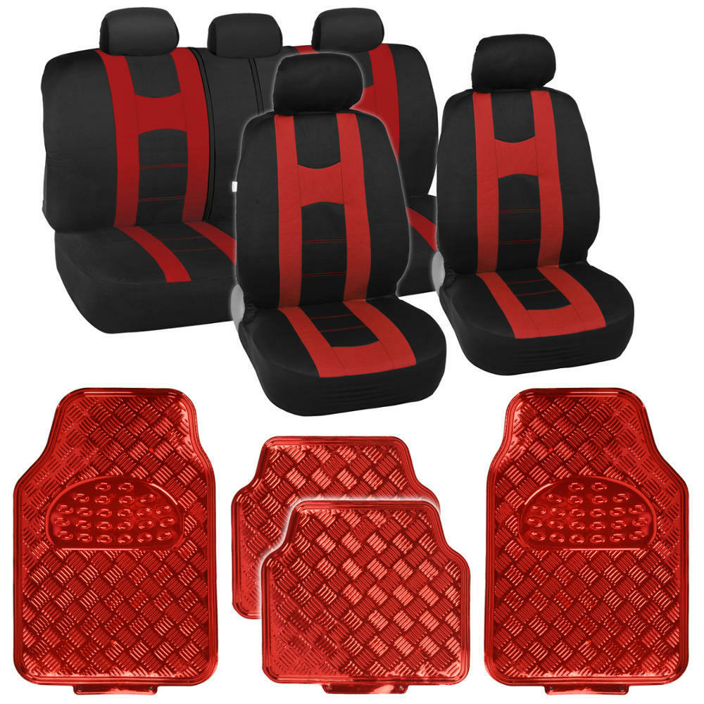 Black Red Two Tone Seat Covers & Heavy Duty Red Vinyl
