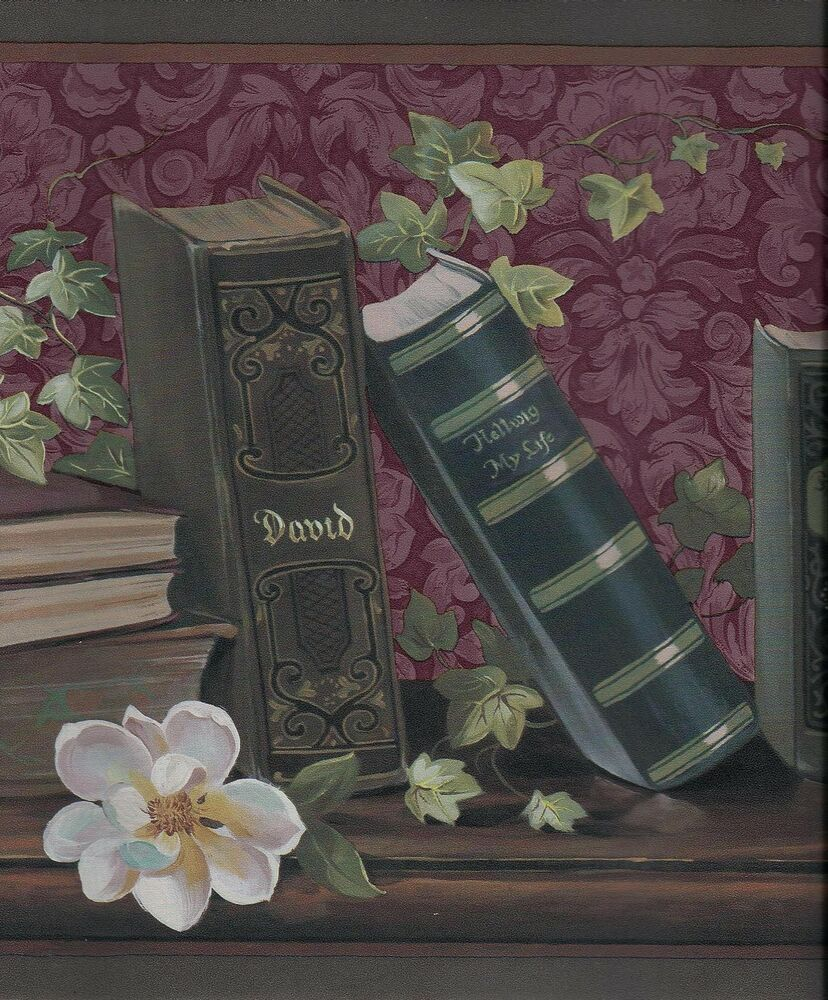 victorian library books and magnolias wallpaper border ebay