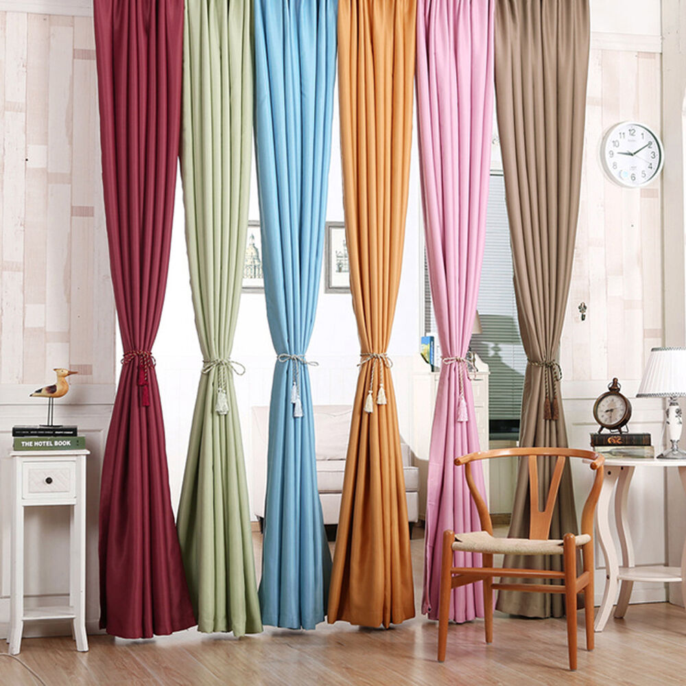 Heavy Thick Blackout Grommet Window Curtains Polyester