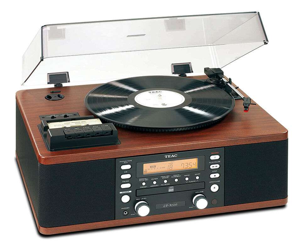 teac lpr500 record player with vinyl lp to cd copier convertor station walnut ebay. Black Bedroom Furniture Sets. Home Design Ideas