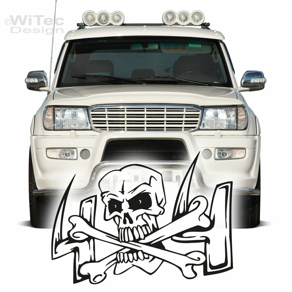 autoaufkleber offroad skull 4x4 crossbones totenkopf allrad auto aufkleber e555 ebay. Black Bedroom Furniture Sets. Home Design Ideas