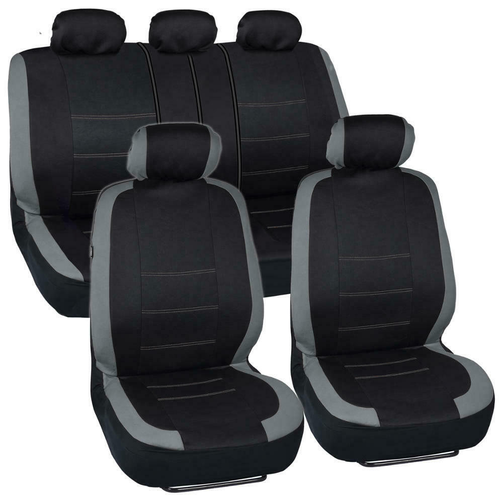 black and gray cloth car seat covers full interior set for auto ebay. Black Bedroom Furniture Sets. Home Design Ideas