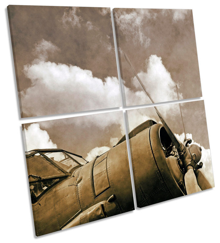 Vintage Airplane Propeller Multi Canvas Wall Art Square