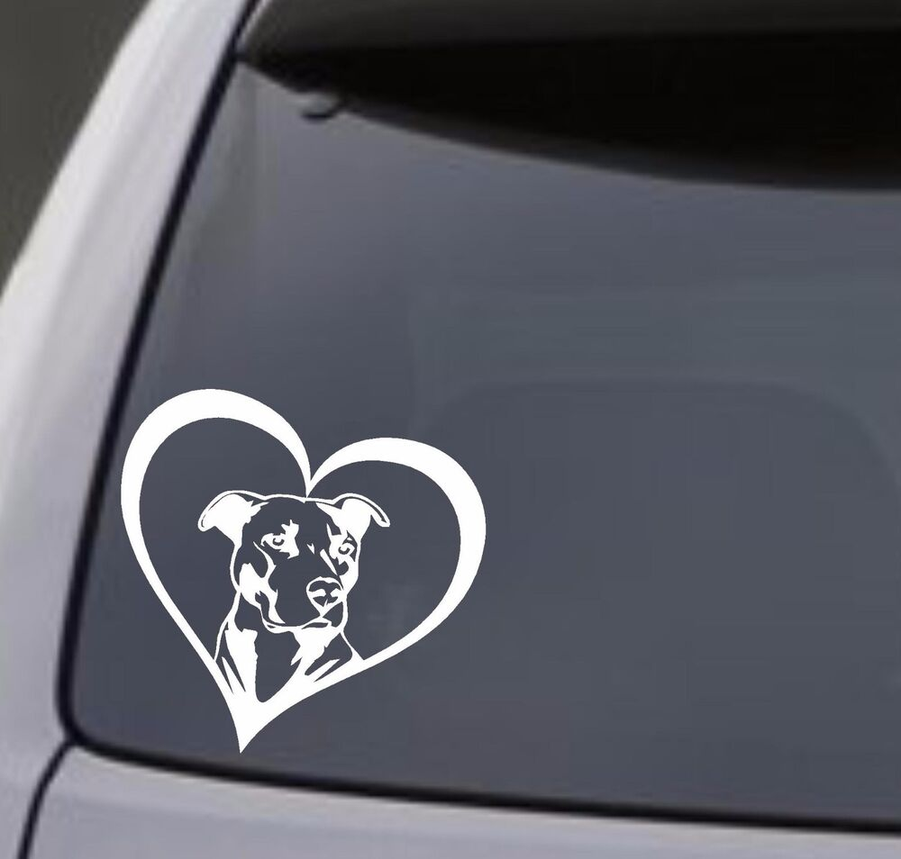 Vinyl Window Decals : Pitbull heart vinyl decal sticker car window bumper wall i