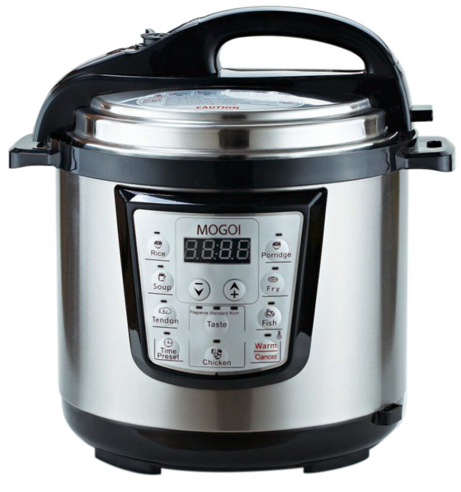 black 1000 watt 6 quart electric pressure cooker brushed stainless steel new ebay. Black Bedroom Furniture Sets. Home Design Ideas