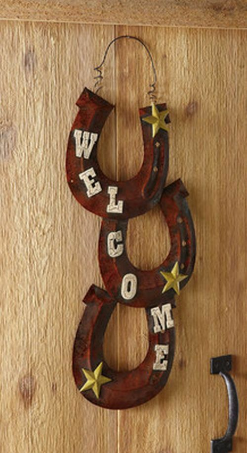 Western horseshoe welcome hanging sign decoration metal for Horseshoe crafts for sale
