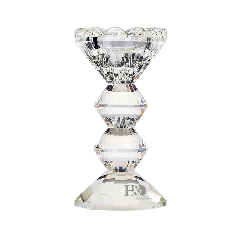 Clear vintage crystal candelabra candle holder