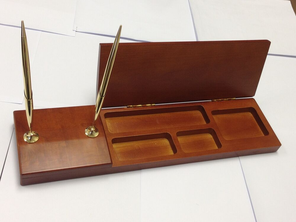 Solid wood cherry finish executive desk organizer with