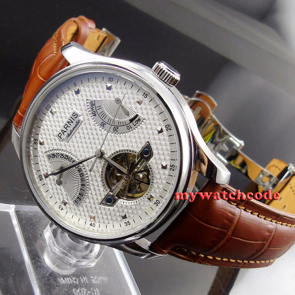 43mm parnis white dial brown strap power reserve st2505 automatic mens watch 413 ebay for Auto movement watches
