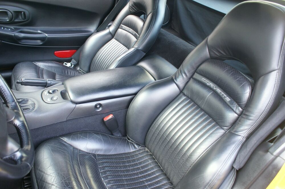 1997 2004 c5 corvette sport seat black leather replacement seat covers ebay. Black Bedroom Furniture Sets. Home Design Ideas