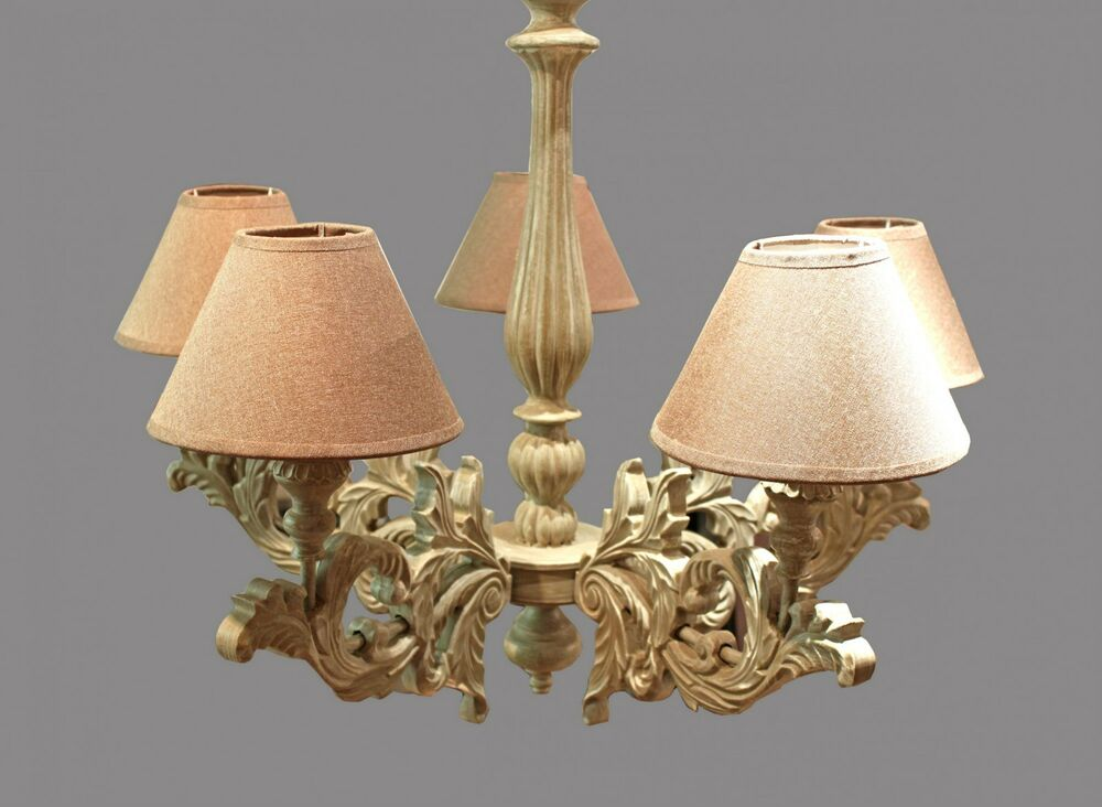 kronleuchter antik 5 flammig braune schirme holz deckenlampe barock beige neu ebay. Black Bedroom Furniture Sets. Home Design Ideas