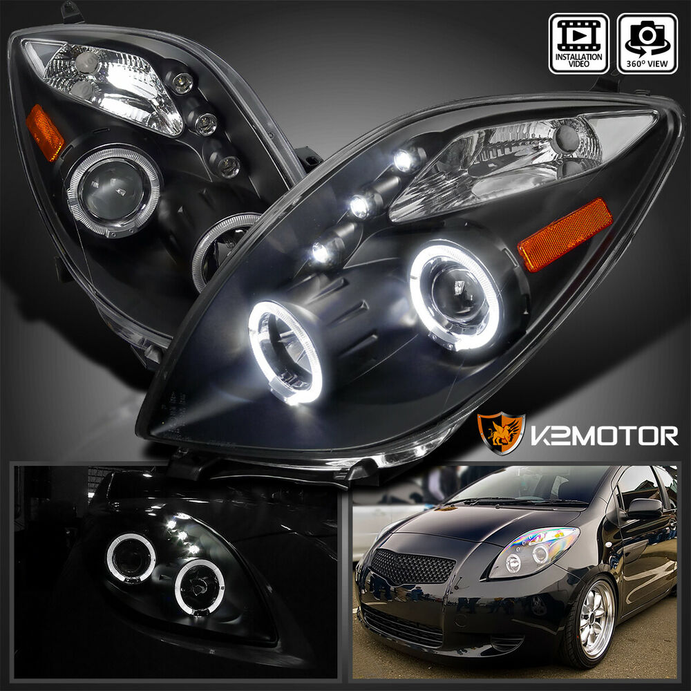 Jdm Black 2006 2008 Toyota Yaris Angeleyes Projector Led