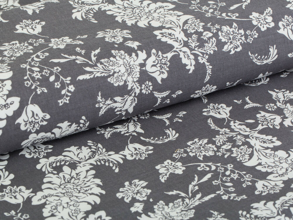 baumwolle satin stoff vintage blumen blumenmuster auf grau meterware ebay. Black Bedroom Furniture Sets. Home Design Ideas