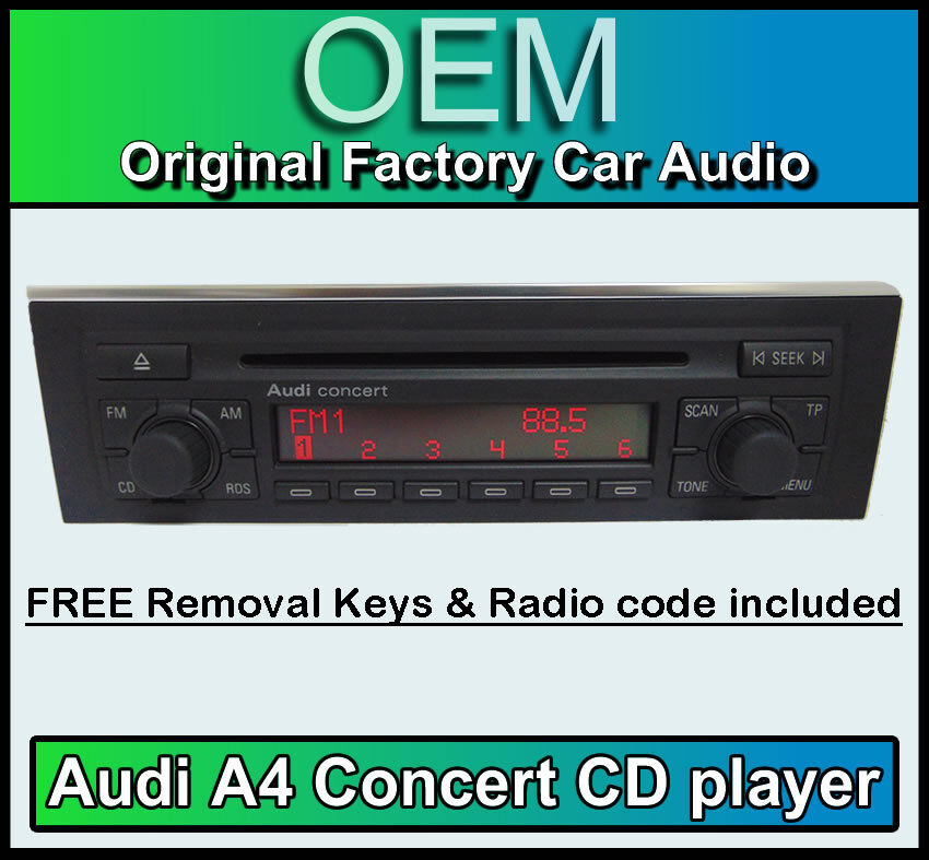 audi a4 cd player audi concert car stereo with radio code. Black Bedroom Furniture Sets. Home Design Ideas