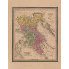 Italy Vintage Map Mitchell Cowperthwait 1853 Original