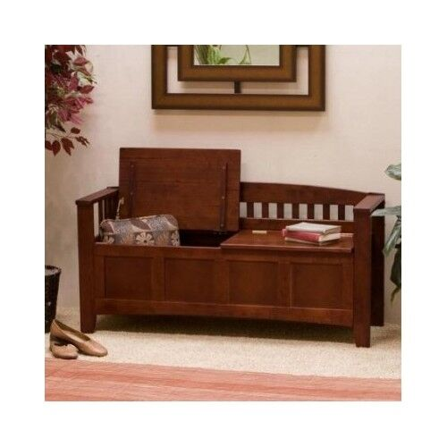 Wooden Storage Bench Entryway Walnut Seat Chest Foyer